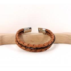 Bracelet cuir Tressé camel...