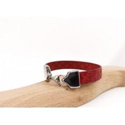 Bracelet cuir rouge pour...